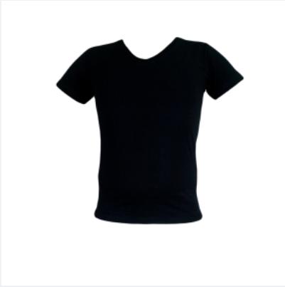 Μπλουζα V μακο μονοχρωμη μαυρη
