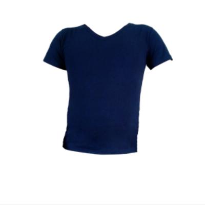 Μπλούζα V μακό μονόχρωμη Μπλε