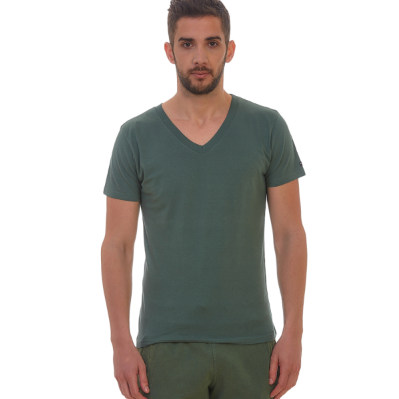 Μπλούζα V μακό μονόχρωμη πρασινη